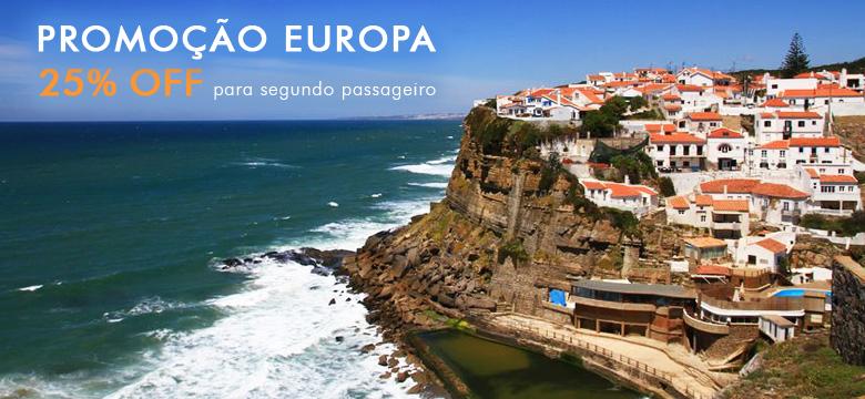 Promoção pacote de viagem Europa com 25% OFF para segundo passageiro